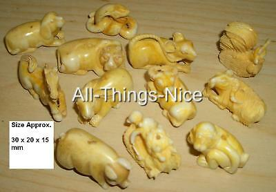 12 Chinese Zodiac HOROSCOPE Jewellery Bone Findings 30mm NETSUKE Beads Charms