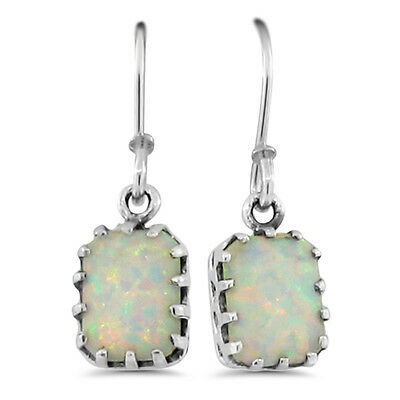 White Lab Opal Antique Victorian Design 925 Sterling Silver Earrings,  #669