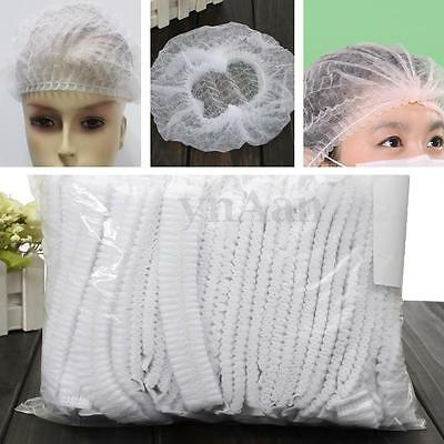 100x White Disposable Hair Dust Net Mob Caps Stretch Non Woven Bouffant Spa Lab
