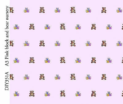 Dolls House 'Blocks & Bears'  Wallpaper on a pale pink background
