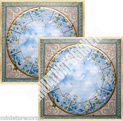 Dolls House Victorian Ceiling centre panels x 2 Mural 1/12th scale #10