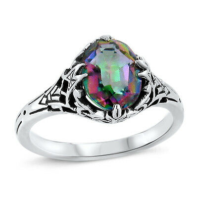 Mystic Quartz Hydro Antique Deco Style .925 Sterling Silver Ring,   #439