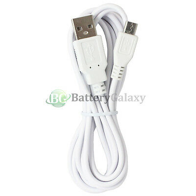 25 White USB 6FT Micro Charger Data Cable for Samsung Galaxy S6/Edge/Core Prime