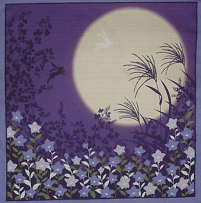 Japanese Cotton Fabric Furoshiki 'Rabbits Jumping in the Moonlight' 50cm