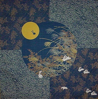 Furoshiki Wrapping Cloth Japanese Fabric Navy 'Rabbit in the Moon' Cotton 50cm