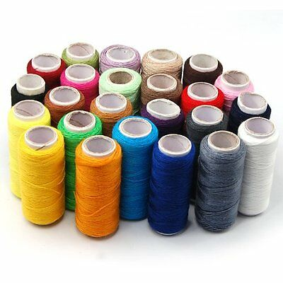 x24 Colour 100% Cotton Reel Spools Quality Sewing Yarn Pure All Purpose Thread