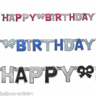 Happy Birthday BLUE PINK BLACK Boy Girl Glitz Party Jointed Letter Banner