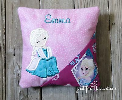 Girl's Personalized Embroidered Girl Frozen Princess Design Tooth Fairy Pillow