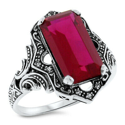 6.5 Ct. Red Lab Ruby Opal Antique Victorian Design.925 Sterling Silver Ring,#466