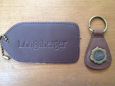 Set of Leather Longaberger Accessories - Key Fob & Luggage Tag - Free shipping