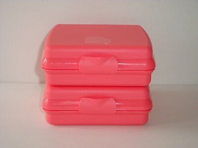 Tupperware Sandwich Keepers Set Hinged Seals Crayons Crafts Watermelon Melon New