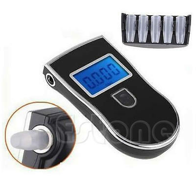 Portable Digital Alcohol Breathalyser Breath Tester w/Blue LCD + 5x Mouthpieces