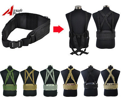 Tactical Military Hunting Airsoft Molle Combat Waist Padded War Belt w/Suspender