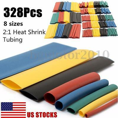 328Pcs 8 Sizes Assortment Ratio 2:1 Heat Shrink Tubing Sleeving Wrap Wire Kit-US