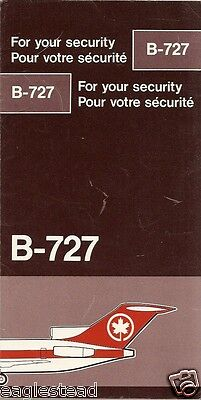 Safety Card - Air Canada - B727 - 1987 (S3425)