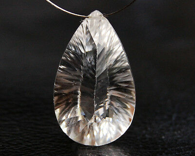 Natural Crystal Concave Both Side Pear Briolette Bead Focal Point Pendant
