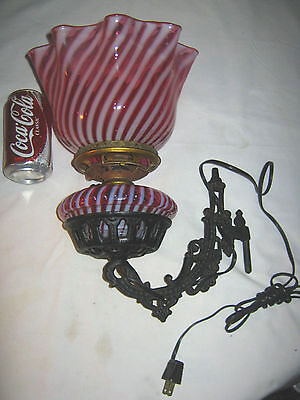 Lg Antique Fenton Cranberry Swirl Opalescent Cast Iron Sconce Wall Art Oil Lamp