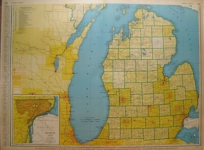 RARE Vintage South MICHIGAN Map w RAILROADS 1945 Original Map RARE SIZE 1413