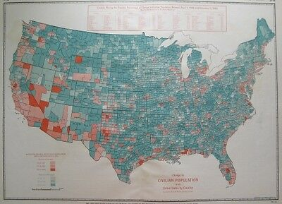 1943 Vintage UNITED STATES Map US USA Map POPULATION Map RARE SIZE 1415