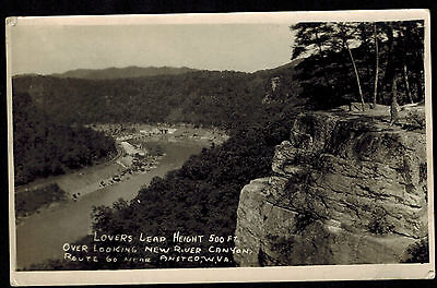 RPPC 1950's West Virginia LOVERS LEAP Ansted Route 60 ~ Vintage Real Photo PC