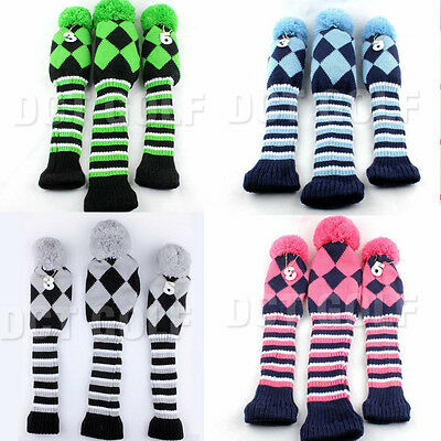 New 1# 3# 5# Pom Pom Knitted Golf Club Head Cover For Driver Fairway Woods
