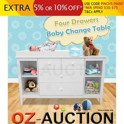 White Baby Changing Change Table Changer Chest with Four Drawers and 4 Shelves