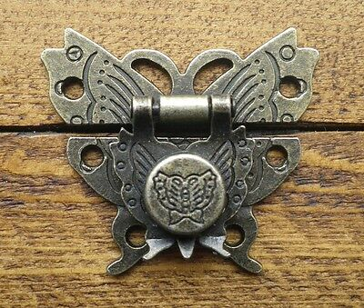NEW Lock clasp box closer latch hasp ornate butterfly antique bronze finish C082