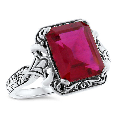 4.5 Ct. Red Lab Ruby Antique Victorian Design .925 Sterling Silver Ring,    #480