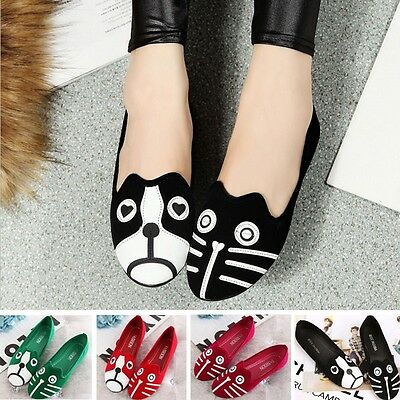 Sale Cartoon Cat Dog Pattern Loafers Flats Women Ladies Casual Shoes UK SIZE 2-8
