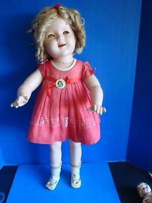 """ANTIQUE VINTAGE 27"""" COMPOSITION SHIRLEY TEMPLE DOLL- 1930s IDEAL FLIRTY EYE A/O"""