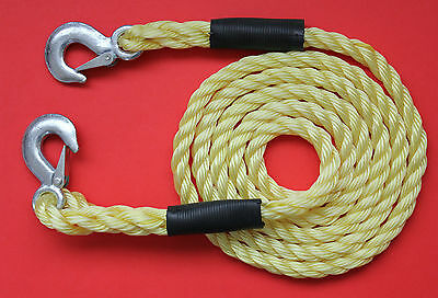 "5000KG Tow Rope Recovery ""Heavy Duty"" 3 Metres x 18mm Snap Lock Metal Hooks NEW"