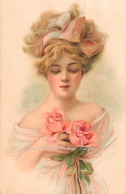 Lovely Victorian Lady Gorgeous Pink Roses REPRO Print Fabric Block5x7 OR 8x10