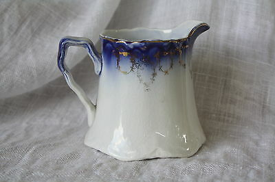 Antique Flow Blue CREAMER Gold Floral Swag Trim ~ French Saxon China