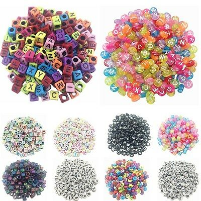 100pcs 6mm Acrylic Alphabet Spacer Loose Beads Square Cube Round DIY Jewelry