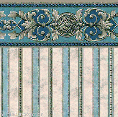 Dolls House Wallpaper 1/12th 1/24th scale Teal Quality Paper #311