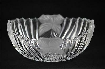 Mikasa Crystal Frosted Flower Centerpiece Bowl