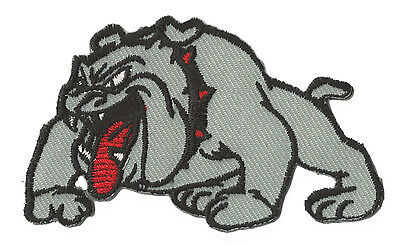 Patch écusson patche Bulldog gris thermo thermocollant brodé