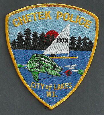 CHETEK WISCONSIN POLICE PATCH FISH & SAILBOAT!