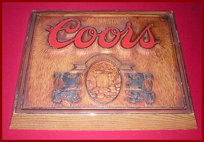 Vintage Coors Beer Advertisement Display Sign Bar Plaque Dated 1986