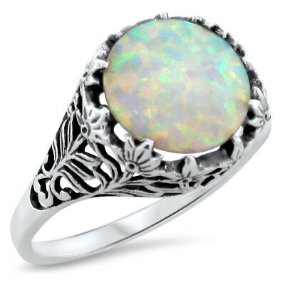 White Lab Opal Antique Design .925 Sterling Silver Filigree Ring ,          #513