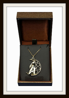 Bronze ~ Celtic Moon Gazing Hare Pendant Necklace ~ From St. Justin ~ Free P&P