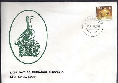 Rhodesia, 1980 ,last Day Of Zimbabwe/rhodesia Illustrated Cover.(Political Cover