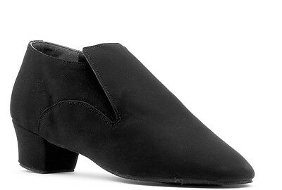 Boys Mens Black Ballroom Latin Dance Shoes LATINO HALF BOOT All Sizes Topline