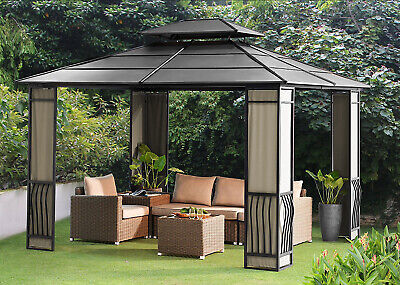 10 x 12 Hardtop Metal Steel Roof Outdoor Patio Gazebo w ...