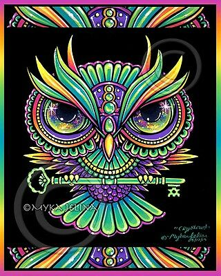 Owl Psychedelic Rainbow Trippy Hippie Crystowl Ltd Signed CANVAS Embellished
