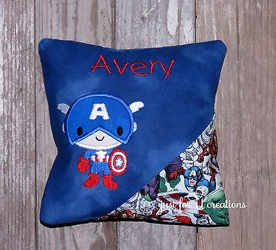 Boy's Personalized Embroidered Tooth Fairy Pillow Super Hero American Design