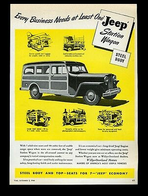 1946 Jeep Station Wagon business vehicle art Willys Overland vintage print ad