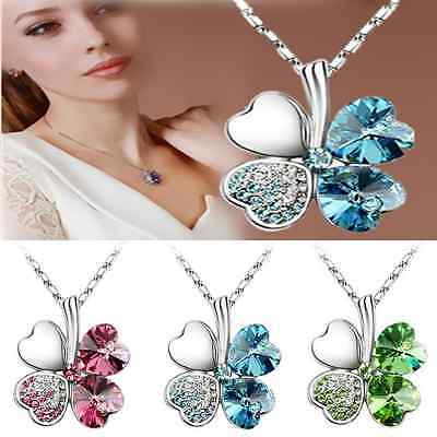 Women Happiness Clover Four Leaf Crystal Pendant Chain Necklace Wedding Jewelry
