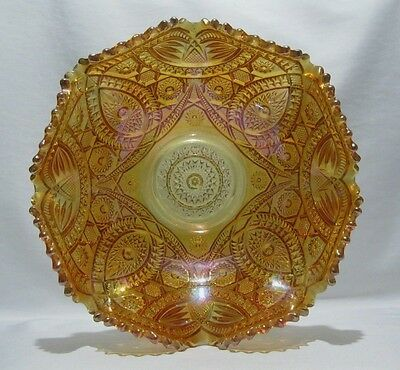 Carnival Glass Imperial Long Hobstar Arch Amber Marigold Ruffled Fruit Bowl 11""