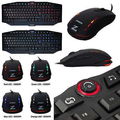 Zalman K400G Gaming Keyboard and Zalman M401R Gaming Red Mouse Bundle
